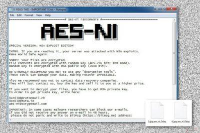 .Aes_ni_0day 文件扩展病毒的勒索字条