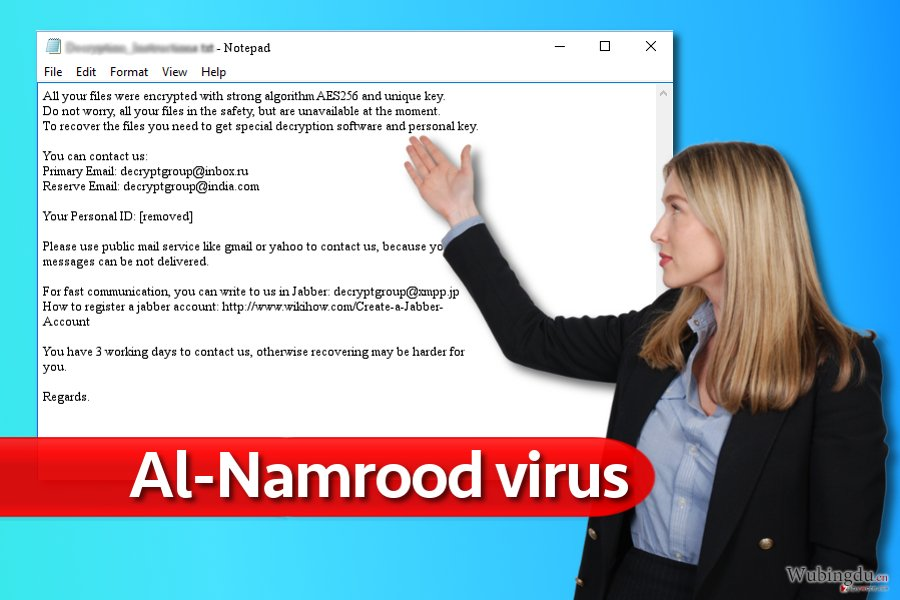 Al-Namrood 勒索软件病毒的字条