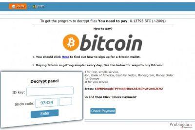 Onion 的网站,含有如何向 Cry128 勒索软件创建者支付赎金的指示