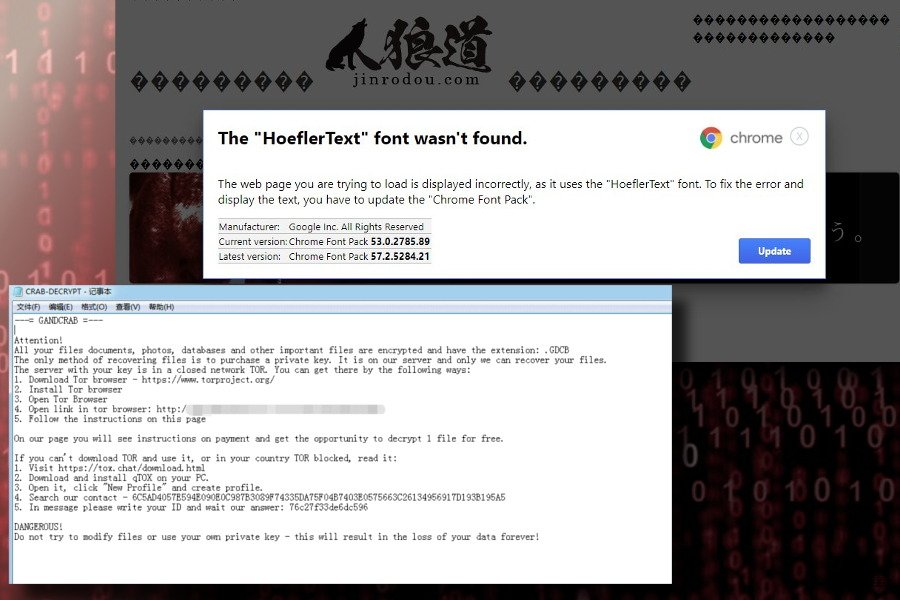 GandCrab spreads via fake Hoefler text font updates