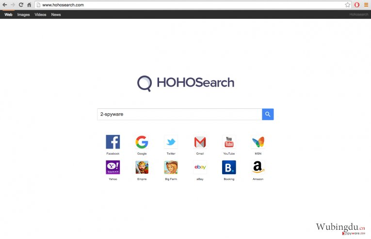 A screenshot of the Hoho Search virus website