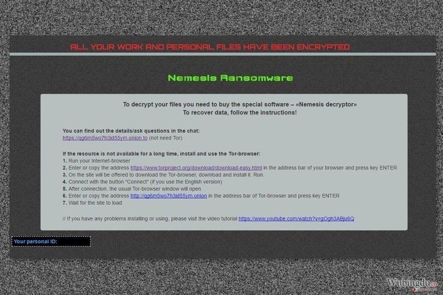Ransom note by Nemesis virus
