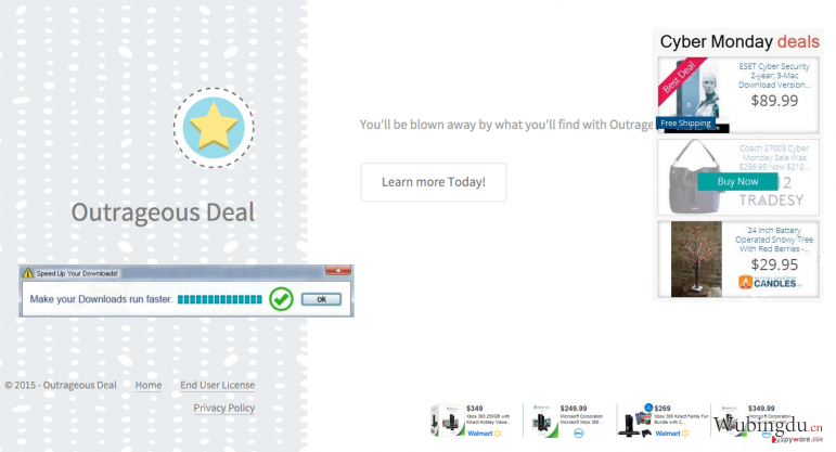 Showing the official website of Outrageous Deal and the most typical examples of the Outrageous Deal ads