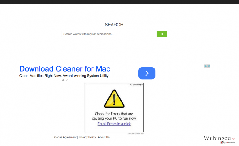 An example of the main page of ColdSearch virus
