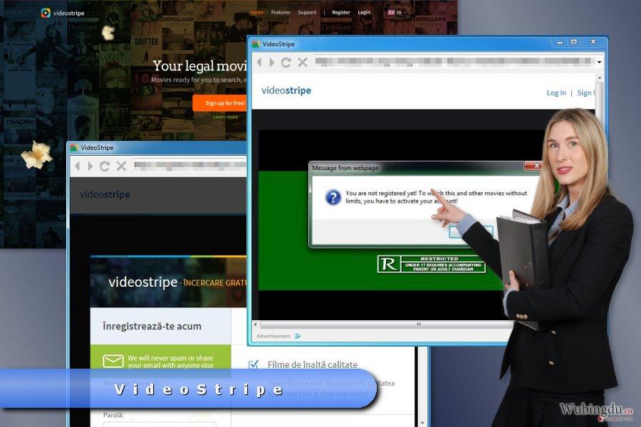 VideoStripe 弹出式广告的示例