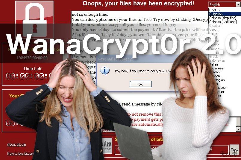 WanaCrypt0r 2.0 勒索软件病毒的图像
