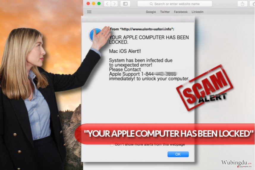"""YOUR APPLE COMPUTER HAS BEEN LOCKED"" 病毒"