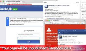 Your page will be unpublished Facebook 病毒