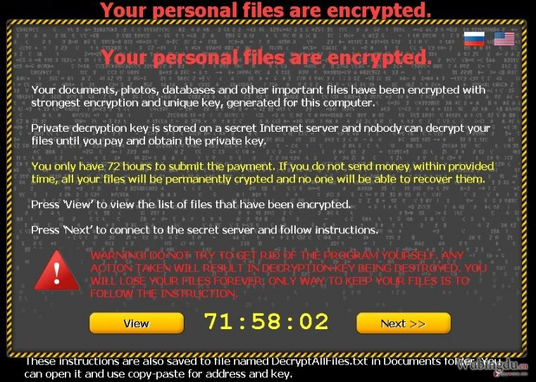 Your personal files are encrypted 病毒